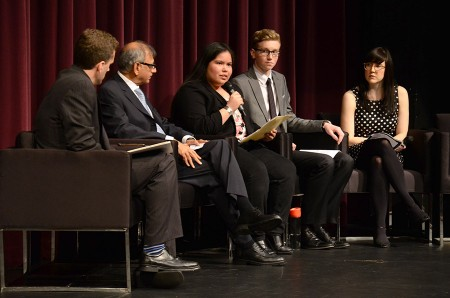 UBC student Adina Williams (middle) of the Squamish Nation at a Smart and Caring Communities panel discussion in West Vancouver on March 3rd, as part of Governor General David Johnston's challenge to communities to be smarter and caring leading up the country's 150th birthday in 2017.  Photo credit: Sonya Adloff, West Vancouver Schools