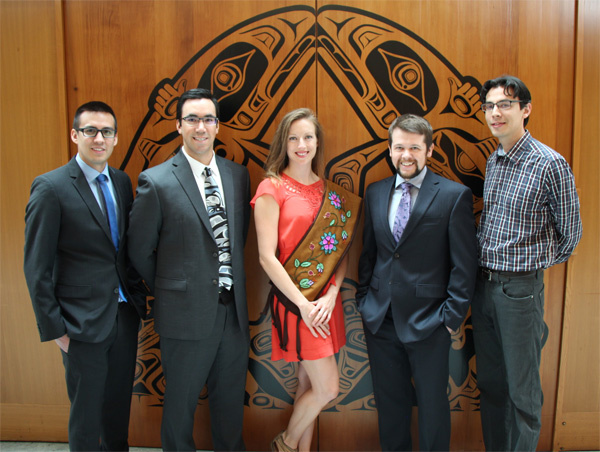 L to R: Dr Todd Alec, Nak'azdli Nation, Family Practice in Prince George; Dr Nathan Teegee, Takla Lake Nation, Dermatology in Vancouver; Dr Lara Des Roches, Metis Nation, Sabbatical Masters in Ethics; Dr Geoffrey Johnson, Metis Nation, Obstetrics & Gynecology in Victoria; Dr David Shepherd, Cree Nation, Family Practice in Prince George.  Missing: Dr Michael Bergunder, Metis Nation, Family Practice in Red Deer; Dr Travis Thompson, Metis Nation, Family Practice in Penticton; Dr Patricia Caddy, Winnebago Sioux, Family Practice in Nanaimo.