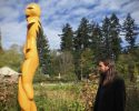 Artist David Robinson at the UBC Farm pole raising ceremony.  Photo: Rafferty Baker/CBC News